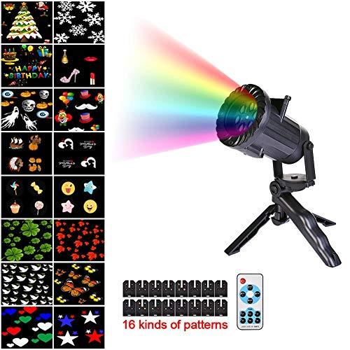 Wireless Remote 16 Switchable Patterns Film Light Ground Stake Colorful Light Halloween Christmas Holiday Decorative Lamp -