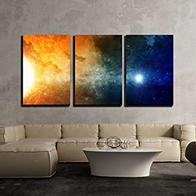 Lovely Technique, Scientific Background Big Red Star Nebula in Deep Space x3 Panels, Top Quality Design
