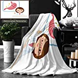 Ralahome Unique Custom Double Sides Print Flannel Blankets Young Female Doctor To The Medical Explanation Stomach Super Soft Blanketry for Bed Couch, Throw Blanket 60 x 50 Inches