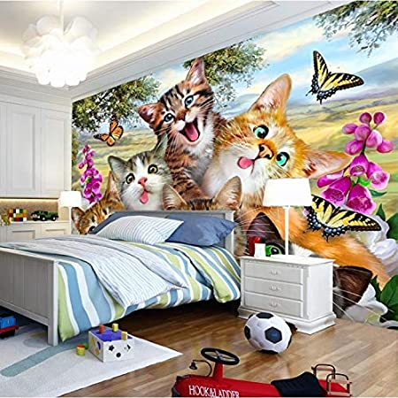 Photo 3d Wallpaper Cute Cartoon Cat Self Portrait Children S Room Bedroom Living Room Background Mural Wallpaper Amazon Co Uk Kitchen Home