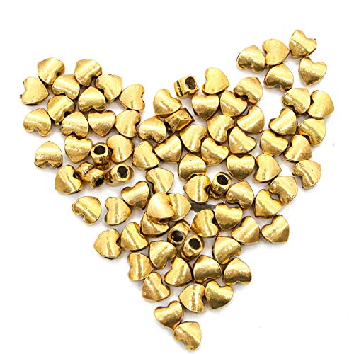 JETEHO 80 pcs Tibetan Gold Sweet Heart Spacer Metal Beads for Jewelry Findings Making ()