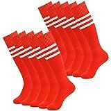 3street Unisex HeatGear Athletic Thicken Over Calf Striped Softball Socks for Thanksgiving Gift Red+white stripe 10-Pairs,7-13