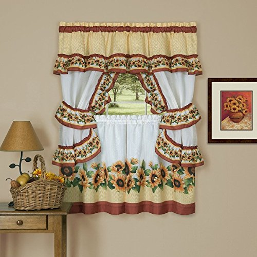 3 Piece 36 Inch Spice Color Black Eyed Susan Cottage Style Tier & Swag Window Curtain Set, Yellow Floral Pattern Sunflower Print Hippie Bohemian Lodge Cottage Log Cabin Mandala Vibrant, Polyester (Tier Sunflower)