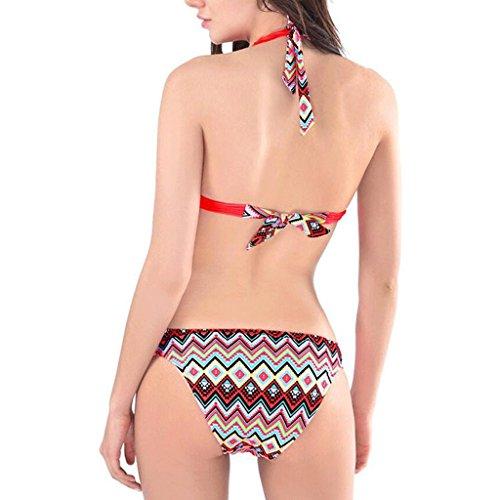 Bikini bikini bajas cintura briefs impresión digital vendaje playa traje de baño spa traje de baño Rojo