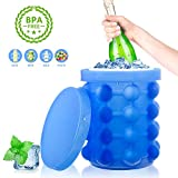 Tonha Space Saving Round Ice Cube Maker and Ice Bucket | Revolutionary System Saves Freezer Space | BPA Free and Food Grade Silicone Ice Mold and Storage Container with Air Tight Lid