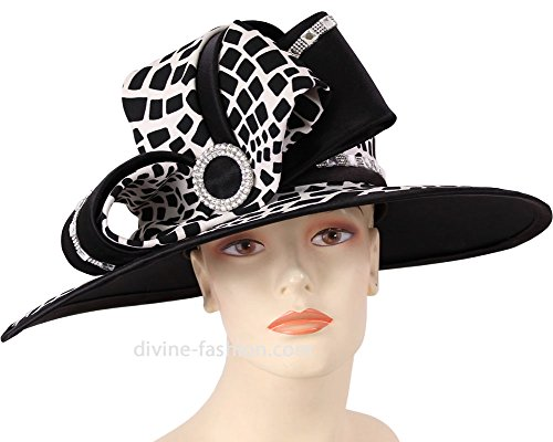 Womens Wide Brim Church Hat, Dressy Formal Hats #HK122 (Black/White) by Ms. Divine Collection