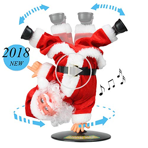 SdeNow Singing Dancing Santa Claus, Christmas Inverted Rotating Santa Claus Xmas Electric Musical Dolls Electric Plush Toy Ornaments Xmas Gift for ()