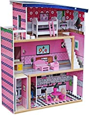 JJJ Sweet Wooden Pretend Play House Doll Dollhouse with Furniture