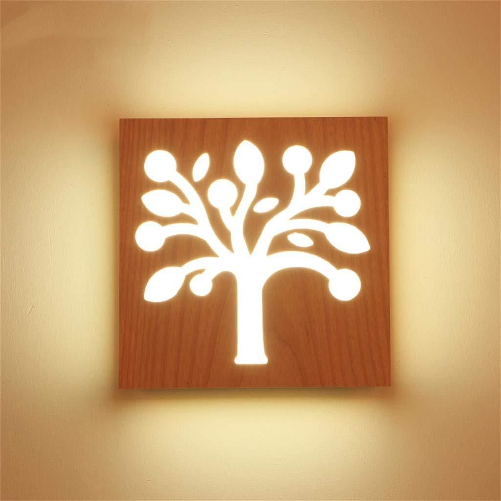Legno Creativo Lampada Da Parete Led Personalizzato Lampada Sul Comodino (colore   Bianco)
