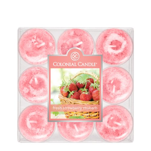 Colonial Candle Fresh Strawberry Rhubarb Tealights, Set of 9