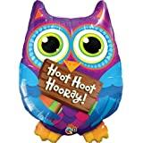 """Hoot Hoot Hooray"" Purple Blue Owl Pink Orange Sign Large 36"" Mylar Balloon"