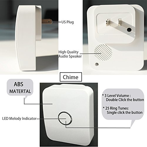 WGOAL Kinetic Wireless Doorbell Kits, No Battery & Wi-Fi Required for Push Button and Chime,Self-powered Transmitter and AC110-120V Receiver,IPX7 Waterproof,393.7 FT Range, 25 Chimes (White) by WGOAL (Image #2)