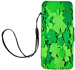 Rikki KnightTM Green Irish clovers Design PU Leather Wallet Type Flip Case with Magnetic Flap and Wristlet for Apple iPhone 5 &5s
