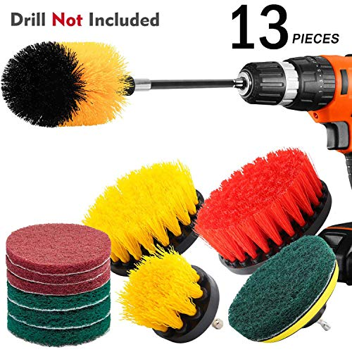 (KNGUVTH 13 Piece Drill Brush Attachments Set, Power Scrubber Brush Cleaning Kit with Scrub Pads & Drill bit Extender - Cleaning Supplies for Bathroom, Grout, Floor, Tub, Tiles, Sinks, Kitchen, Car)
