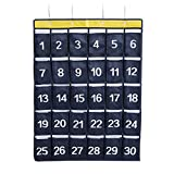AZDENT Numbered Pocket Charts for Classroom Cell Phone Hanging Storage Organizers 30 Pockets