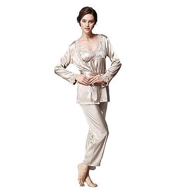 BOYANN Kimono Morgenmäntel Damen Bademäntel Satin Nachtwäsche Erotik ...