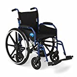 "Medline Combination Transport Chair and Wheelchair, 18"" Wide Seat, Desk Length Arms, Swing Away Footrests, Blue Frame"