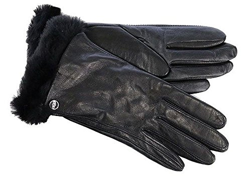 Sm Leather (UGG Women's Classic Leather Smart Glove Black SM)