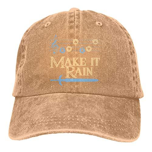 (GoDiao Make It Rain Sports Denim Cap Hot Dog Men Women Snapback Casquettes Adjustable Hat)