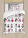 Ambesonne Winter Duvet Cover Set Twin Size, Cute Penguins Hand Drawn Style Set Merry Christmas Greetings Babies Kids Toddler, Decorative 2 Piece Bedding Set with 1 Pillow Sham,