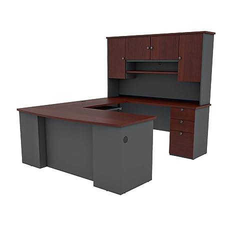 Bestar U-Shaped Desk with Pedestal and Hutch - Manhattan