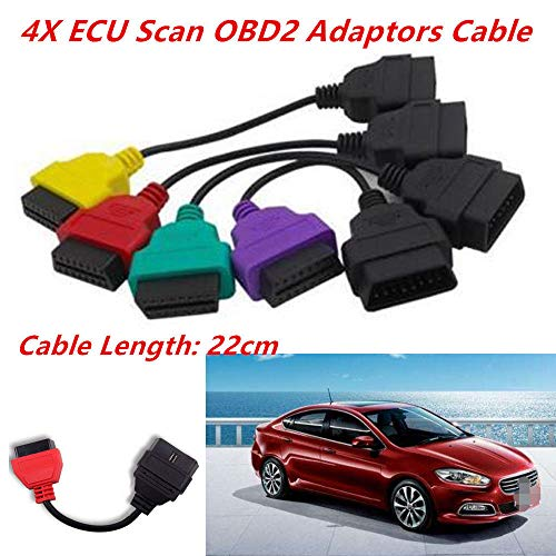 FidgetKute 4PCS Portable ECU Scan OBD2 Adaptors Cable Full Set Fit for Fiat  MultiEcuScan
