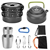 kettle backpacking - Odoland 10pcs Camping Cookware Mess Kit, Lightweight Pot Pan Kettle with 2 Cups, Fork Knife Spoon Kit for Backpacking, Outdoor Camping Hiking and Picnic