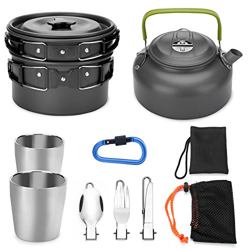 Cookware Lightweight (Odoland 10pcs Camping Cookware Mess Kit, Lightweight Pot Pan Kettle with 2 Cups, Fork Knife Spoon Kit for Backpacking, Outdoor Camping Hiking and Picnic)