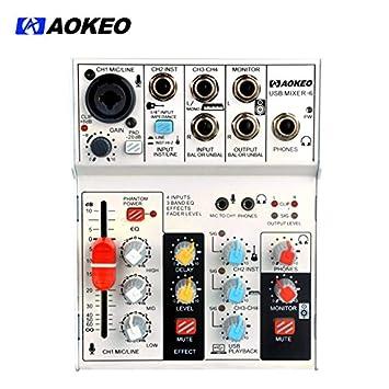 aokeo Bluetooth tarjeta de sonido Audio Mixer, interfaz de ...