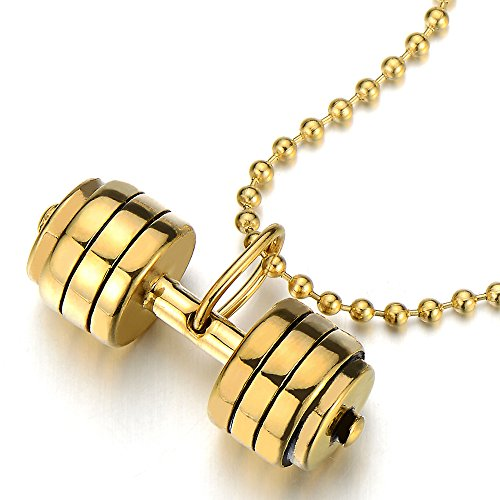 Stainless Barbell Dumbbell Pendant Necklace