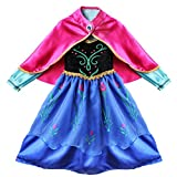TiaoBug Girls Xmas Flower Princess Cosplay Costume Cape Dress Party Dressing up Black, Blue 3-4 Years