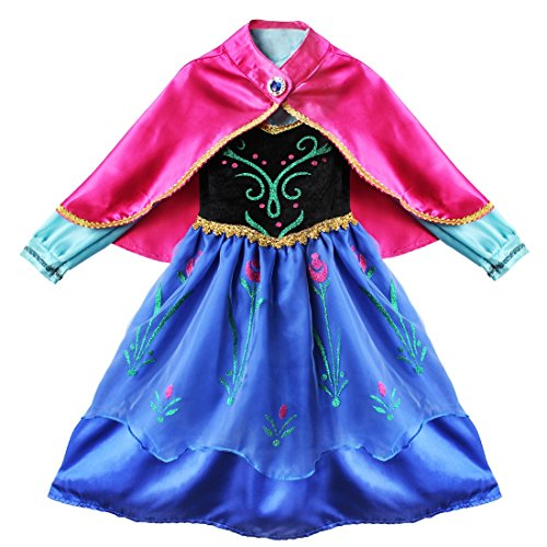 iEFiEL Kids Girls Princess Costume Dress Carnival Holiday Fancy Party Cosplay Long Gown With Cape (Red&Blue, 2-3)