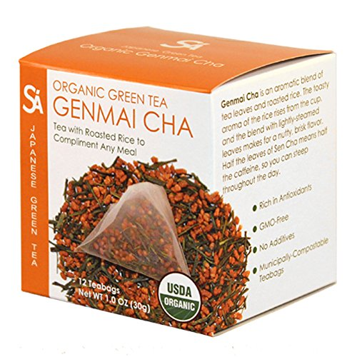 - SA Sugimoto Tea Company Organic Genmaicha - Authentic Japanese Green Tea - Sencha Green Tea with Roasted Rice - 玄米茶 - Antioxidants, Caffeine, L-Theanine - 12 Count Compostable Pyramid Teabags