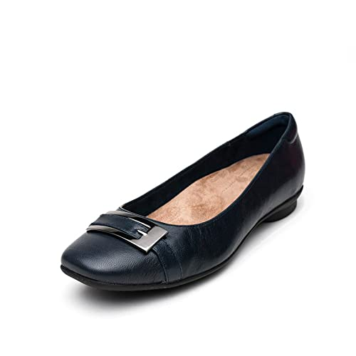 Clarks Womens Smart Clarks Candra Glare Leather Shoes In Navy Wide Fit Size  3