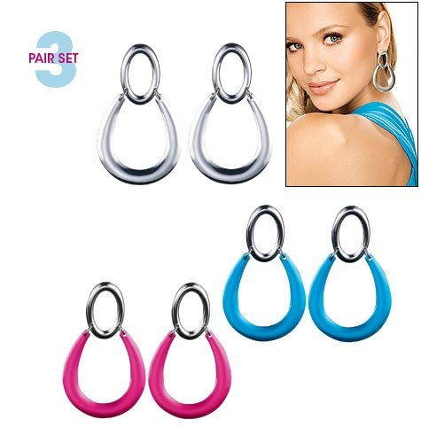 Avon Bright Door Knocker Earrings - Pink, Blue & Silver 3-Pair Set Large Hoops