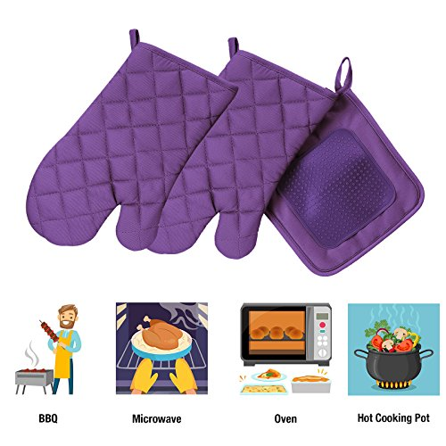 VEEYOO Cotton Oven Mitts Pot Holders Set - Kitchen Silicone Oven Mitt Heat Resistant, Non-slip Grip Oven Gloves Potholder 3 Packs Cooking, Baking & BBQ, Purple by VEEYOO (Image #5)