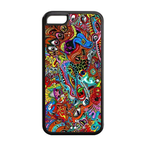 5C Phone Cases, Trippy Hard TPU Rubber Cover Case for iPhone 5C