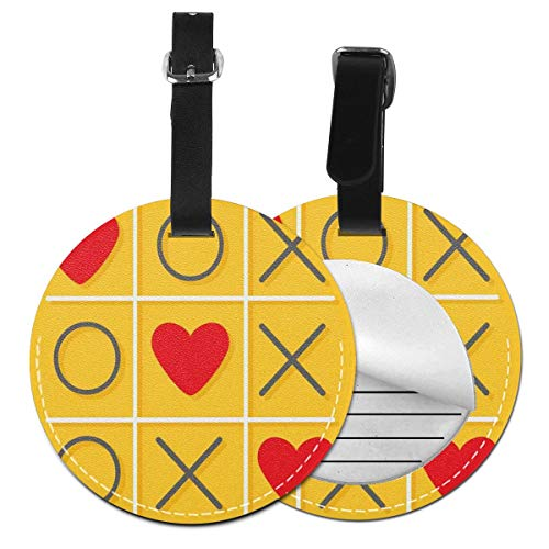 Round Travel Luggage Tags,Tic-Tac-Toe Game With XOXO Design Let Me Kiss You Valentines Romantic Illustration,Leather Baggage Tag 2 PCS