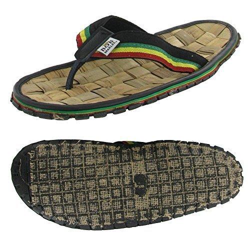 Bamboo Mens Shoes (Bob Marley Men's Bamboo Flip Flop Sandals Reggae Jamaica Rasta Thong (10, Black))