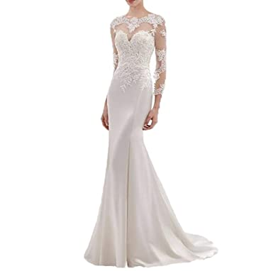 0e2cb44b73f8 Wanshaqin Women's Long Mermaid Sweetheart Lace Appliqued Wedding Dresses  Bridal Gowns for Brides Plus Size at Amazon Women's Clothing store: