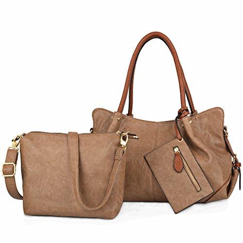 UTO Women Handbag Set 3 Pieces Bag PU Leather Tote Small Shoulder Purse Bags Wallet Strap Mud Color
