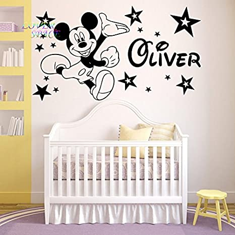 Mickey Mouse Wandtattoo personalisierbar Namen Vinyl Aufkleber Kinderzimmer  Wand Art Kids, schwarz, -Large -SIZE 120cm x 60cm (48\