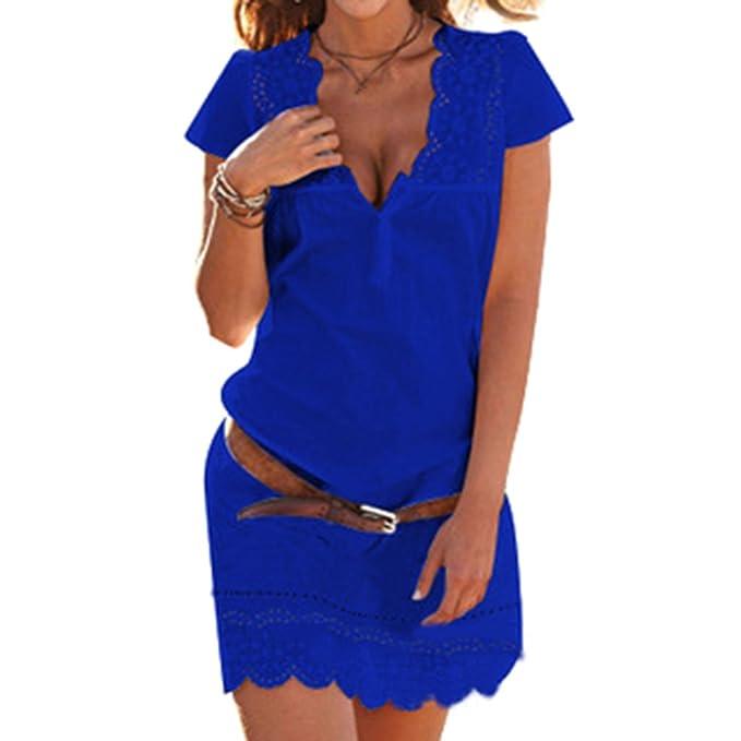 Mujeres Camisa Vestir camiseta Blusa Vestir - Elegante Corto Manga Cordón Vestir Verano Vestir Mujeres Profundo