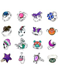 Jiali Q 16pcs Mixed Mood Ring Change Color Ring Adjustable Size Temperature Finger Ring