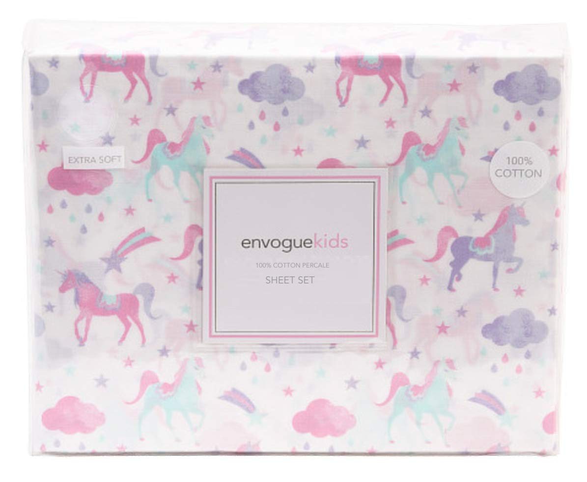 Envogue Kids Shooting Star Unicorn Sheet Set for Girls Pink Purple Aqua on White 4 Piece Full Size Bed Sheets