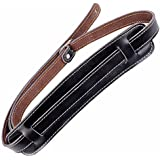 Mugig leather guitar strap guitar accessory adjustable from 127 cm to 145 cm in length with 8 cm wide pad sturdy suitable for all electric guitar and bass black/brown (black)