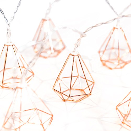Ling's moment 5Ft Rose Gold Diamond Geometric Boho 10 LED Bedroom Fairy Lights Battery Powered Metal Cage String Lights For Wedding Rose Gold Party Bridal Shower Gift Valentine's Day Wall Bedroom Deco