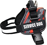 ALBCORP Reflective Camo Service Dog Vest Harness, Woven Nylon, Adjustable Service Animal Jacket, with 2 Hook and Loop Removable Patches, Large, Red Camo