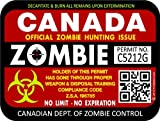 "ProSticker 1208 (TWO pack) 3""x 4"" Zombie Series ""Canada"" Hunting License Permit Decal Sticker"