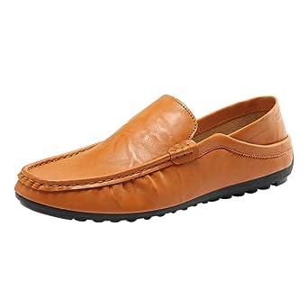 Zapatos de hombre Suave Respirable Cuero Moda Recortar Plano Conducción Excursionismo Deporte Casual Ponerse Zapatos LMMVP